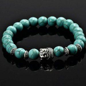 Jewelry - Turquoise Silver BUDDHA Stretch Bracelet